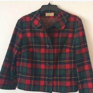 PENDLETON 100% Virgin Wool Red Plaid Jacket sz16